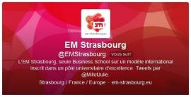Compte Twitter de l'EM Strasbourg : l'actualité de l'école, des bons plans, et de la bonne humeur