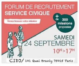 Forum de recrutement Service civique en asso le samedi 24 septembre 2016 au CIDJ