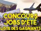 Concours Jobs d'été 2017 - Liste des gagnants