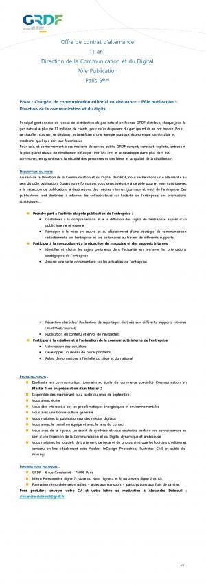 Offre De Job Charge E De Communication Editorial En Alternance